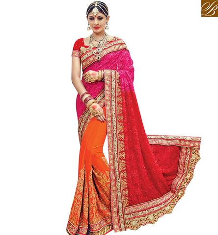 STYLISH BAZAAR RED AND ORANGE GEORGETTE PARTY WEAR HALF N HALF DESIGNER SAREE WITH LACE BORDER WORK SLMN3614