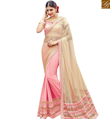 STYLISH BAZAAR CREAM AND PEACH LYCRA NET DESIGNER HALF N HALF PARTY WEAR SAREE WITH LATEST BORDER SLMN3615