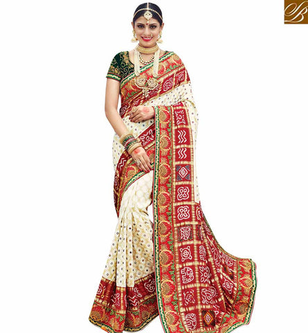 STYLISH BAZAAR BUY OFF WHITE AND RED SILK DESIGNER WELL DECORATED PARTY WEAR SAREE FROM STYLISH BAZAAR SLMN3616