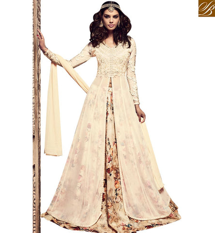 STYLISH BAZAAR BEAUTIFUL CREAM EMBROIDERED SILK DESIGNER SUIT HAVING DIGITAL PRINT BOTTOM SLMSH3701