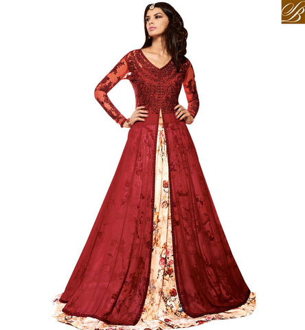 STYLISH BAZAAR SHOP MAROON EMBROIDERED SILK AND MULTICOLOUR BOTTOM WITH LEHENGA STYLE SLMSH3704