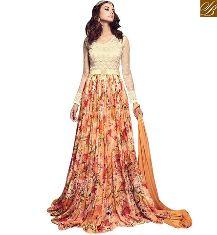 STYLISH BAZAAR STUNNING MULTICOLOUR CHIFFON HAVING DIGITAL PRINT ANARKALI SUIT WITH GOWN STYLE SLMSH3705