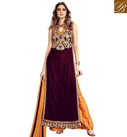 STYLISH BAZAAR BEAUTIFUL MAROON EMBROIDERED VELVET MAISHA PARTY WEAR STRAIGHT CUT PLAZZO SUIT SLMSH3801