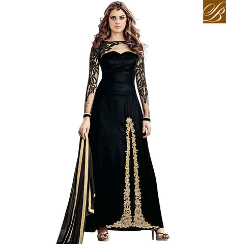 STYLISH BAZAAR DAZZLING BLACK EMBROIDERED VELVET MAISHA ANARKALI PARTY WEAR SALWAR KAMEEZ SLMSH3802