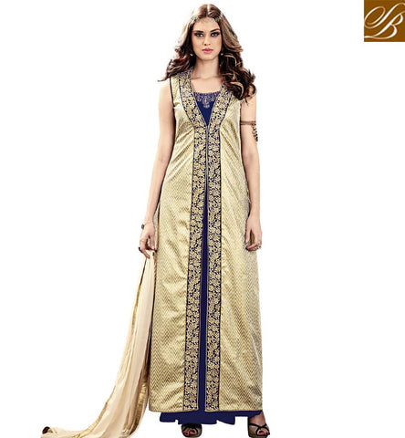 STYLISH BAZAAR AMAZING BLUE VELVET ANARKALI PARTY WEAR GOWN STYLE SALWAR SUIT WITH CREAM JACKET SLMSH3803