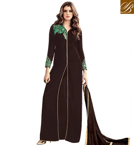 STYLISH BAZAAR PLEASING BROWN VELVET HAVING WELL EMBROIDERED DESIGNER SUIT WITH SLIT CUT SLMSH3804