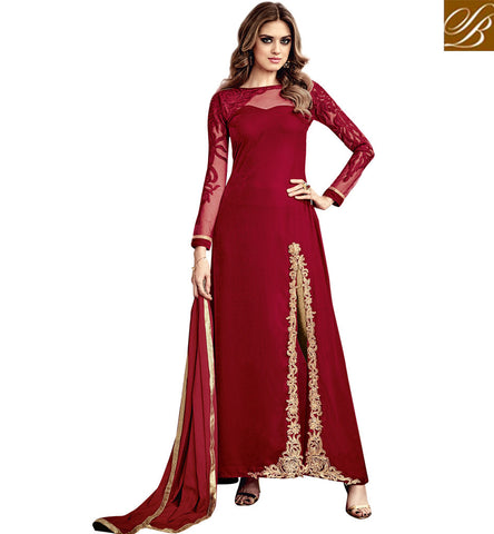 STYLISH BAZAAR INVITING RED VELVET PARTY WEAR ANARKALI SALWAR KAMEEZ HAVING SLIT FROM SIDE SLMSH3805