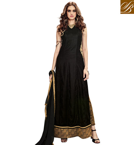 STYLISH BAZAAR STUNNING BLACK VELVET PARTY WEAR STRAIGHT CUT DESIGNER SUIT WITH PATCH WORK SLMSH3806
