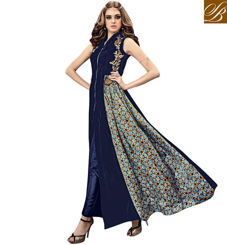 STYLISH BAZAAR GOOD LOOKING BLUE VELVET DESIGNER ANARKALI SALWAR SUIT WITH WELL EMBROIDERY SLMSH3807