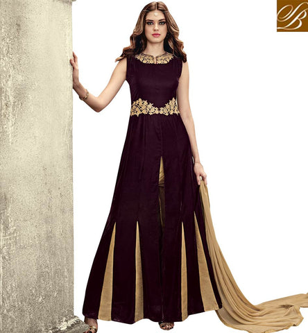 STYLISH BAZAAR GRACEFUL WINE VELVET WELL DESIGNED ANARKALI SALWAR KAMEEZ WITH SLIT FROM MIDDLE SLMSH3808