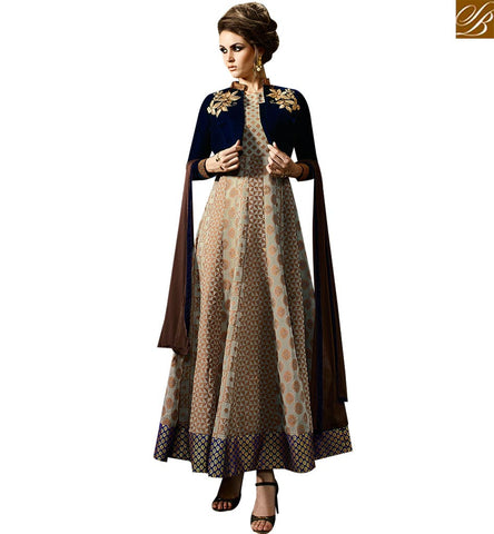 STYLISH BAZAAR BEAUTIFUL BEIGE JACQUARD SILK DESIGNER PARTY WEAR ANARKALI SALWAR KAMEEZ WITH BLUE VELVET JACKET SLMUG10035
