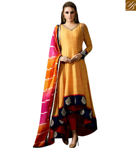 STYLISH BAZAAR GRACEFUL MUSTARD COTTON SILK DESIGNER ANARKALI SALWAR KAMEEZ HAVING MULTI COLOR DUPATTA SLMUG10037