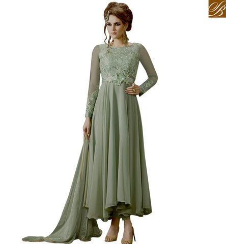STYLISH BAZAAR DELIGHTFUL SEA GREEN NET AND GEORGETTE ANARKALI SALWAR KAMEEZ WITH GOWN STYLE SLMUG10038