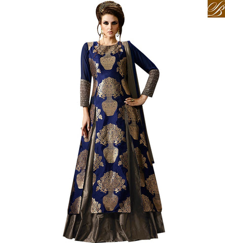 STYLISH BAZAAR ATTRACTIVE BLUE AND GREY BANARASI SILK DESIGNER ANARKALI SUIT WITH BEAUTIFUL SLIT CUT STYLE SLMUG10040