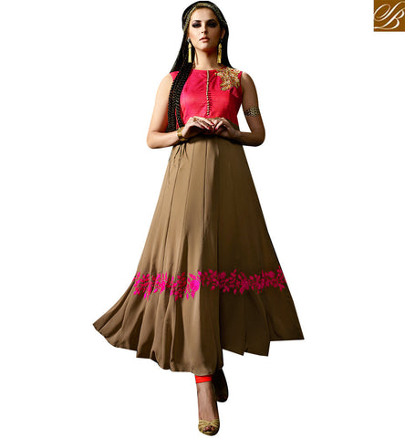 STYLISH BAZAAR APPEALING PINK SILK AND BEIGE GEORGETTE DESIGNER ANARKALI SALWAR KAMEEZ WITH GOWN STYLE SLMUG10041