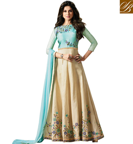 STYLISH BAZAAR BEYHADH TELESERIAL ACTRESS JENNIFER WINGET IN BLUE AND BEIGE DESIGNER GOWN BOLLYWOOD ONLINE WOMEN DRESSES SLMUG11001