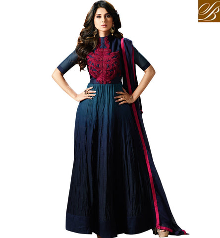STYLISH BAZAAR TELEVISION STARLET JENNIFER WINGET IN LATEST DESIGNER DARK BLUE COUTURE GOWN FOR WOMEN ONLINE SLMUG11002