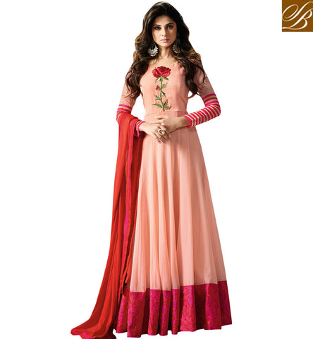 STYLISH BAZAAR SHOP TV HOTSTAR JENNIFER WINGET MODELLED PEACH WEDDING GOWN FOR WOMEN ONLINE BOLLYWOOD COLLECTION -SLMUG11003