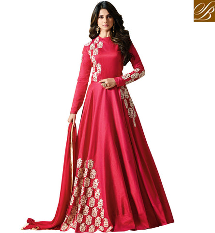 STYLISH BAZAAR JENNIFER WINGET TV SHOW HEROINE IN DARK PINK WEDDING GOWN LATEST ONLINE BOLLYWOOD DRESS SLMUG11004