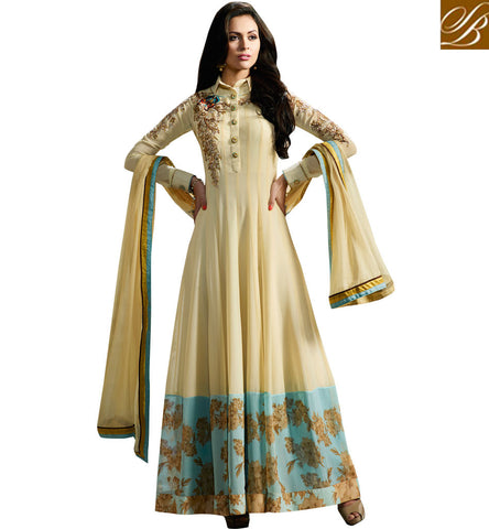 BUY CREAM COLOR GEORGETTE SHIRT STYLE DESIGNER SEMI STITCHED GOWN ONLINE FOR WOMEN LATEST FASHION SLMUG11008