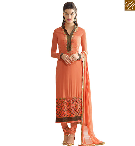 STYLISH BAZAAR GLAMOROUS ORANGE GEORGETTE STRAIGHT CUT EMBROIDERED SALWAR KAMEEZ SLNVM7002