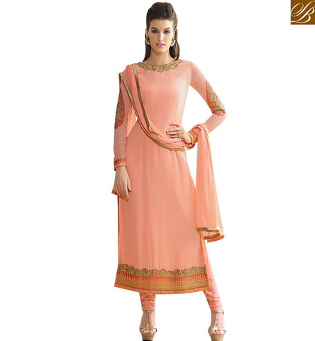STYLISH BAZAAR BEAUTIFUL PEACH GEORGETTE FABRIC DESIGNER STRAIGHT CUT SALWAR KAMEEZ SLNVM7004