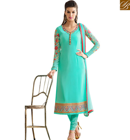 STYLISH BAZAAR BUY ONLINE SEA GREEN GEORGETTE STRAIGHT CUT DESIGNER SALWAR SUIT WITH FLORAL WORK SLNVM7005