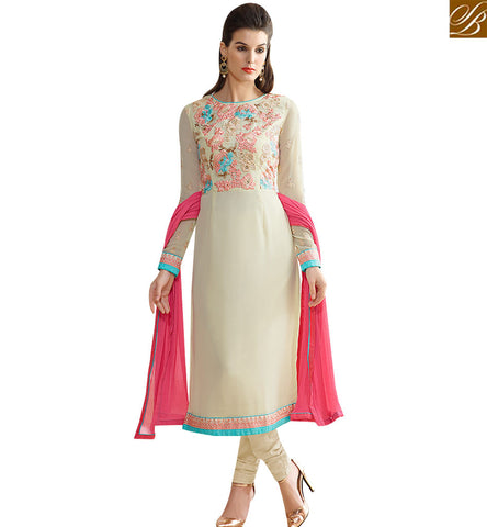 STYLISH BAZAAR FASHIONABLE CREAM GEORGETTE EMBROIDERED STRAIGHT CUT DESIGNER DRESS SLNVM7007
