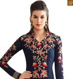 CAPTIVATING NAVY BLUE GEORGETTE STRAIGHT CUT GLORIOUS EMBEDDED SALWAR SUIT SLNVM7008