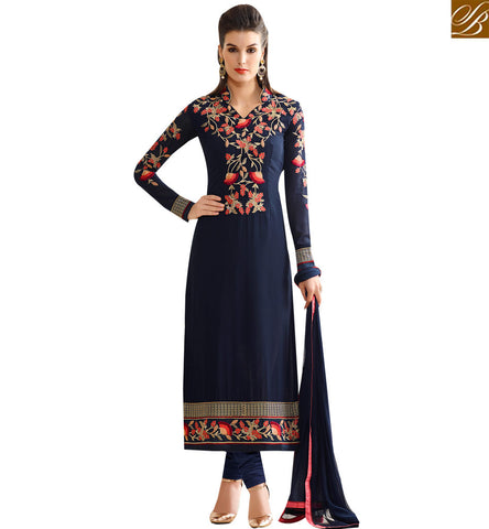 STYLISH BAZAAR CAPTIVATING NAVY BLUE GEORGETTE STRAIGHT CUT GLORIOUS EMBEDDED SALWAR SUIT SLNVM7008