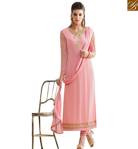 STYLISH BAZAAR GRACEFUL BABY PINK GEORGETTE STRAIGHT CUT WELL EMBROIDERED SALWAR KAMEEZ SLNVM7009