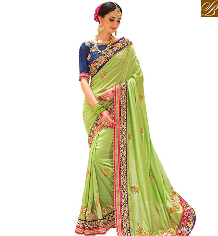 STYLISH BAZAAR INVITING PISTA GREEN SILK DESIGNER PARTY WEAR SAREE HAVING EMBROIDERY WITH BORDER SLPRG4003