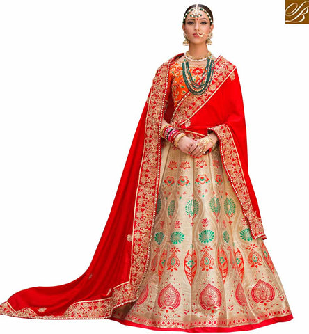 STYLISH BAZAAR SHOP CREAM AND RED SILK FABRIC DESIGNER LEHENGA CHOLI WITH HEAVY EMBROIDERED SLPRG4007