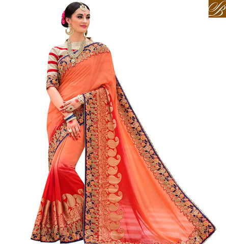 STYLISH BAZAAR ATTRACTIVE RED AND ORANGE SHADED SILK DESIGNER SAREE WITH WELL DESIGNED BLOUSE SLPRG4009