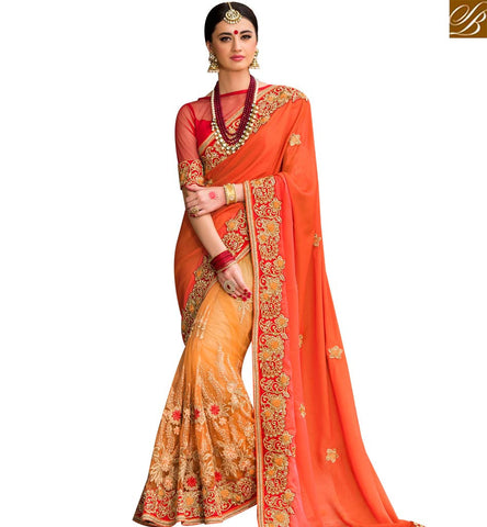STYLISH BAZAAR WONDERFUL ORANGE AND MUSTARD NET SILK HEAVY EMBROIDERED PARTY WEAR DESIGNER SAREE SLPRG4011