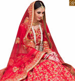 FROM STYLISH BAZAAR ELEGANT RED NET AND SILK DESIGNER PARTY WEAR LEHENGA CHOLI WITH EMBROIDERY SLPRG4013