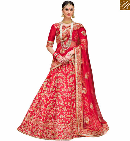 STYLISH BAZAAR ELEGANT RED NET AND SILK DESIGNER PARTY WEAR LEHENGA CHOLI WITH EMBROIDERY SLPRG4013