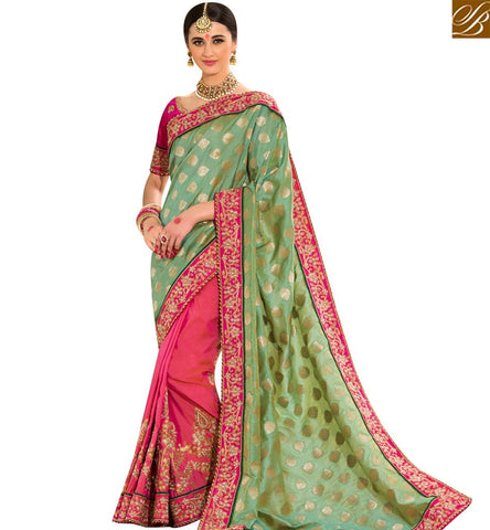 STYLISH BAZAAR BEAUTIFUL PINK AND GREEN JACQUARD BUTTI DESIGNER HALF N HALF PARTY WEAR SAREE SLPRG4015