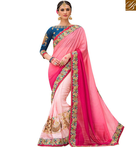 STYLISH BAZAAR STUNNING PEACH AND PINK SHADED SILK HALF N HALF DESIGNER SAREE WITH BLUE EMBROIDERED BLOUSE SLPRG4019