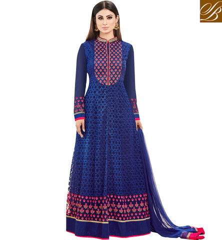 STYLISH BAZAAR TV SHOW AND MOVIES STAR MOUNI ROY IN LATEST BLUE ETHNIC DESIGNER GOWN ONLINE SLSJNG533041