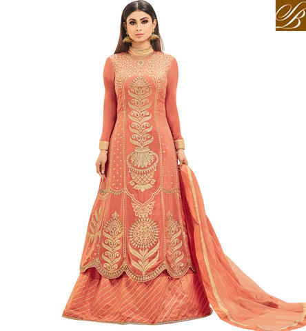 STYLISH BAZAAR NAAGIN TV SERIAL FAME MOUNI ROY IN NEW PEACH LEHENGA KAMEEZ TRADITIONAL OUTFIT ONLINE SLSJNG533042