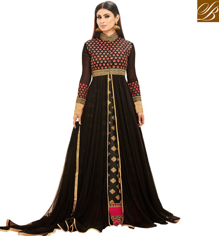 STYLISH BAZAAR INDIAN TV STARLET MOUNI ROY IN BLACK DESIGNER MIDSLIT SILK WEDDING SALWAAR KAMEEZ SLSJNG533045