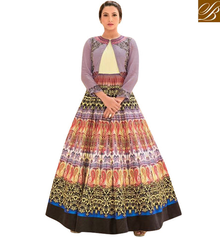 STYLISH BAZAAR SHOP BOLLYWOOD CELEBRITY GAUHAR KHAN INDOWESTERN STYLE ANARKALI NEW BOLLYWOOD DRESS COLLECTTION IN ONLINE SHOPPING SLSJW2105