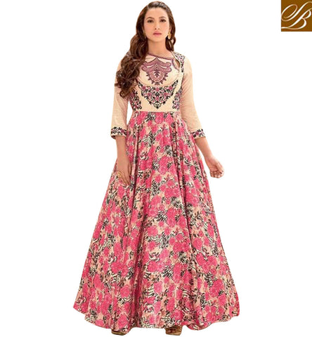 STYLISH BAZAAR GAUHAR KHAN IN NET SEMI STITCHED PEACH AND PINK ANARKALI LATEST ETHNIC BOLLYWOOD EVENING WEAR SLSJW2106