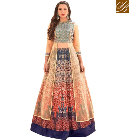 STYLISH BAZAAR BIGG BOSS WINNER GAUHAR KHAN IN PEACOCK FEATHER DESIGN BLUE LEHENGA CHOLI LATEST BOLLYWOOD GHAGHRA CHOLI COLLECTION SLSJW2107
