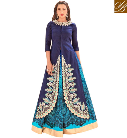 STYLISH BAZAAR GAUHAR KHAN BLUE EVENING WEAR ANARKALI DRESS FOR ENGAGEMENT LATEST BOLLYWOOD CELEBRITY DRESS COLLECTION ONLINE SLSJW2108