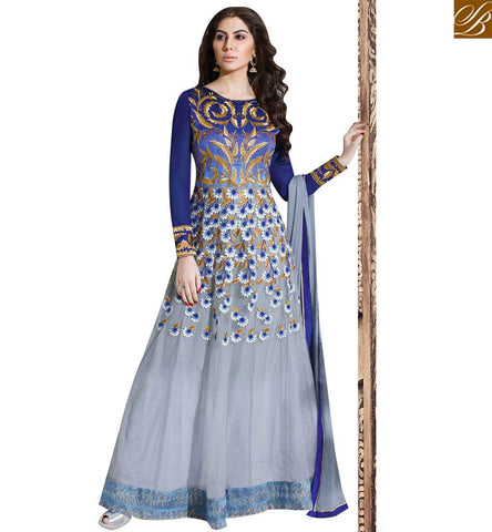 STYLISH BAZAAR BEAUTIFUL BLUE NET EMBROIDERED ANARKALI SALWAR KAMEEZ SLSKR8010