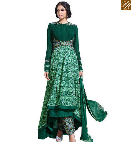 STYLISH BAZAAR ELEGANT GREEN SATIN DIGITAL PRINT EMBROIDERED DESIGNER DRESS SLSKR8011