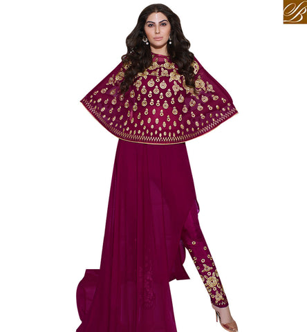 STYLISH BAZAAR ROYAL ELEGANCE WINE GEORGETTE EMBROIDERED INDO WESTERN SUIT SLSKR8012