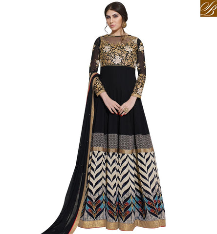 STYLISH BAZAAR WONDERFUL BLACK AND OFF WHITE GEORGETTE DIGITAL PRINT ANARKALI DRESS SLSKR8013